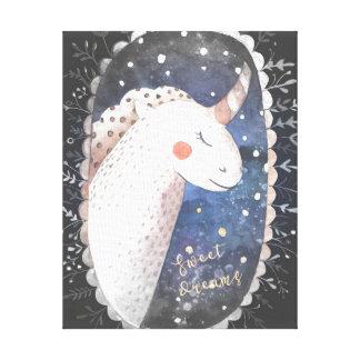 Toile Licorne de rêves doux de nuit étoilée