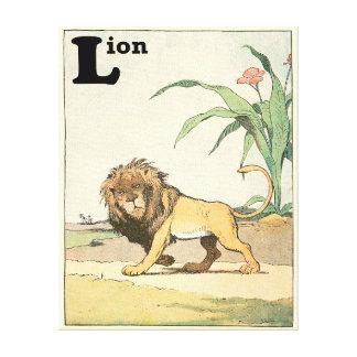 Toile Lion dans l'alphabet de livre d'histoire de jungle