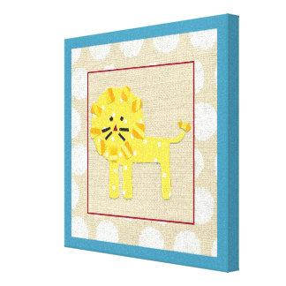 Toile Lion jaune avec le pois blanc