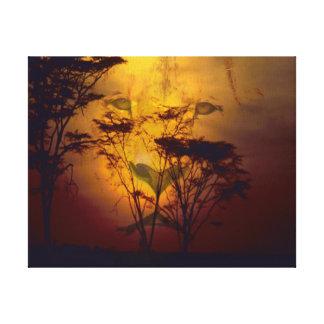 Toile Lion regardant au-dessus du coucher du soleil