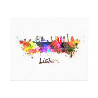 Toile Lisbonne skyline in watercolor