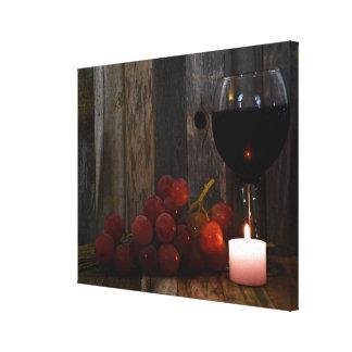 Toile lueur de vin et de raisins