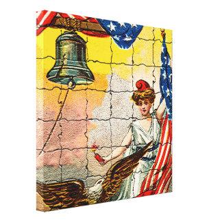 Toile Madame vintage, Eagle, drapeau et Liberty Bell