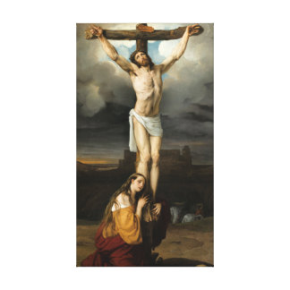 Toile Magdalene contrite au pied de la croix