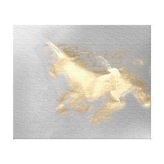 Toile Magie grise 3D de licorne de cheval de sépia