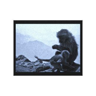 Toile Maman et bébé de singe