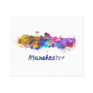 Toile Manchester NH skyline in watercolor