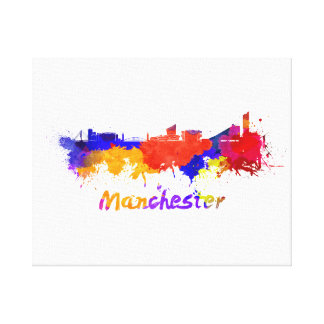 Toile Manchester skyline in watercolor
