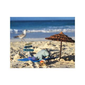 Toile Manfred le lamantin détendant sur la plage