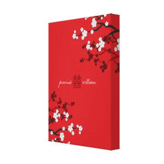 Toile Mariage chinois de double bonheur de fleurs de