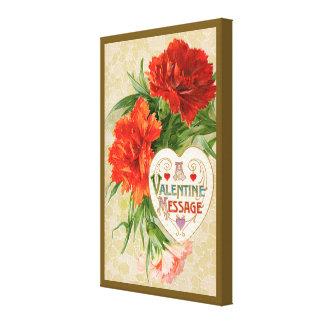 Toile Message vintage de Saint-Valentin, fleurs