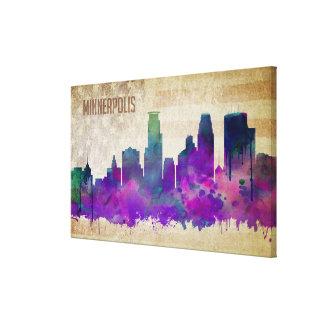 Toile Minneapolis, horizon de ville d'aquarelle du