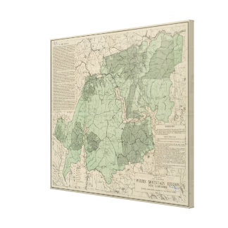 Toile Montagnes blanches vintages New Hampshire Map