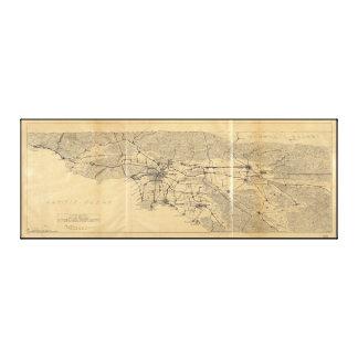 Toile Montagnes Map (1915) de Los Angeles et de San