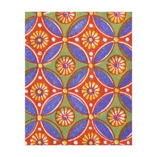 Toile Motif rustique rouge coloré de cercle géométrique