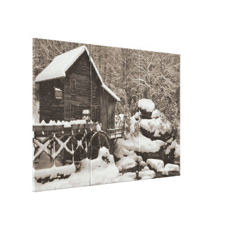Toile Moulin à eau dans la neige
