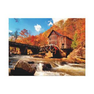 Toile Moulin à eau d'automne