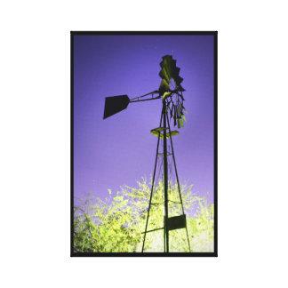 Toile Moulin à vent vintage la nuit