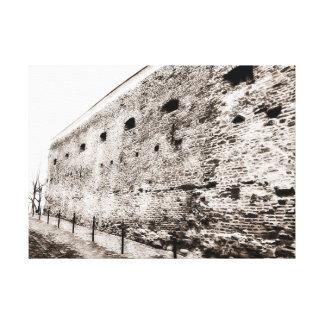 Toile Mur de briques médiéval monochrome de forteresse
