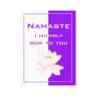 Toile Namaste dans pourpre et blanc vibrants