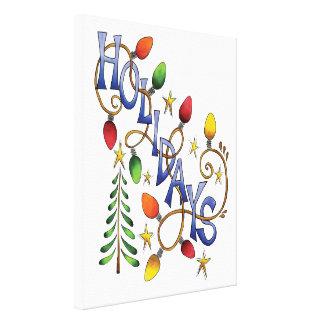 Toile Noël, lumières et étoiles mignons avec le texte de