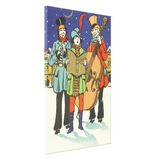 Toile Noël vintage, musiciens Caroling avec la musique