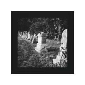 Toile Noir et blanc hanté déplaisant de pierre tombale