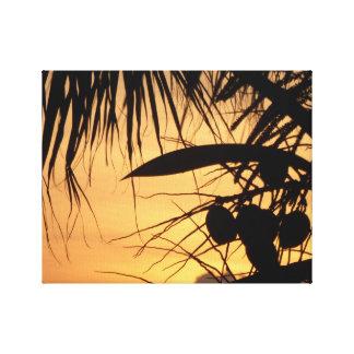 Toile Noix de coco au lever de soleil