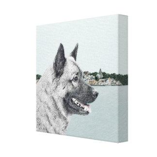 Toile Norvégien Elkhound à la peinture de village - art