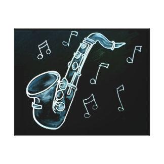 Toile Notes de saxophone et de musique
