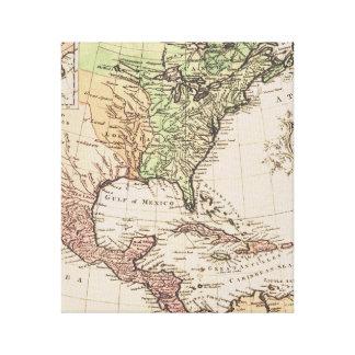 Toile Nouvelle carte du monde de géographie vintage