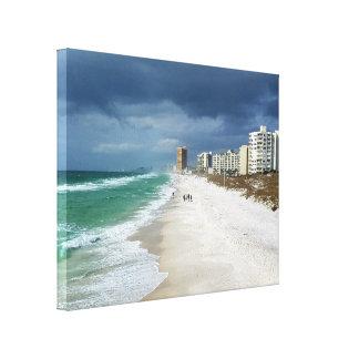 Toile Nuages de pluie au-dessus de plage