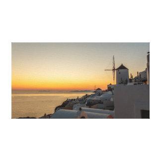 Toile Oia, coucher du soleil de moulin à vent de