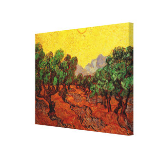 Toile Oliviers de Van Gogh avec le ciel jaune Sun,