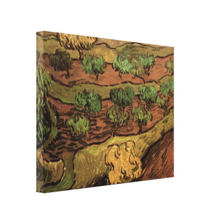 Toile Oliviers de Van Gogh contre une pente d'une