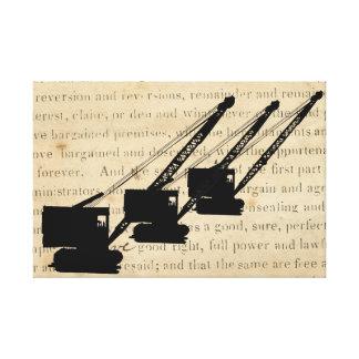 Toile Opérateur antique vintage de silhouette de grue de