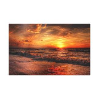 Toile orange vive de coucher du soleil de plage