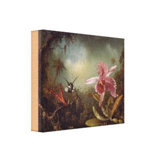 Toile Orchidée avec deux colibris par Martin Heade