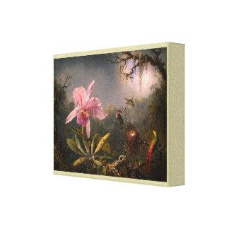 Toile Orchidée de Cattleya et trois colibris brésiliens
