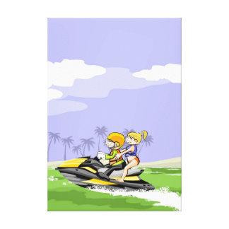 Toile Paire en marchant par la côte dans son jet ski