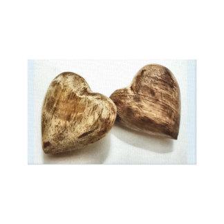 Toile paires en bois de coeurs
