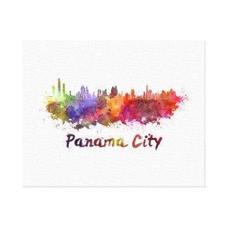 Toile Panama Ville skyline in watercolor