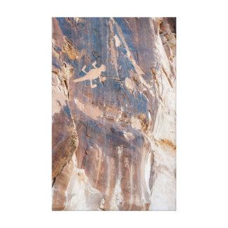 Toile Panneau de pétroglyphe de lézard dans le MNT