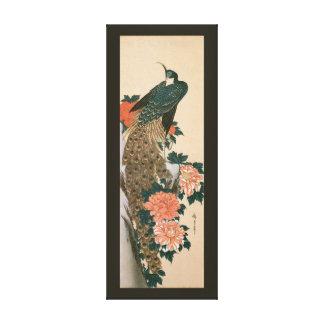 Toile Paon et pivoines par Hiroshige, art japonais