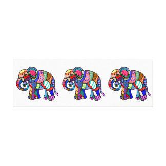 Toile Parade ornementale colorée de trois éléphants