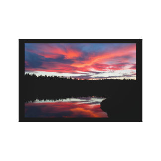 Toile Parc national d'Acadia d'étang de coucher du