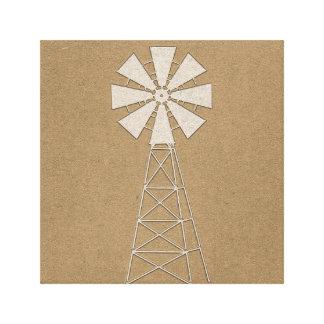 Toile Pays rustique de moulin à vent de ferme de Brown