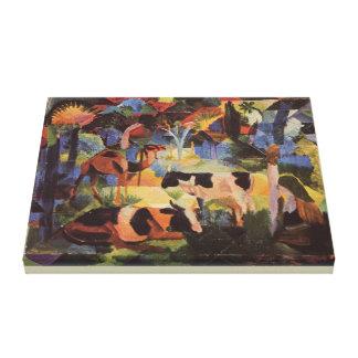 Toile Paysage d'August Macke avec les vaches et le
