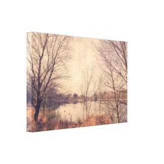 Toile Paysage d'automne par un lac