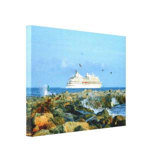 Toile Paysage marin avec le bateau de croisière de luxe